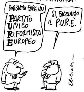 """""""Debemos hacer un Partido, Único, Reformista y Europeo""""-""""Sí, hagamos Il PURE"""" que significa LO MISMO, en italiano. Ilustración de Ciaci Kinder"""
