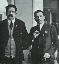 Alfonso Camín (a la derecha) junto al poeta Salvador Díaz Mirón. Autor: José Francisco Bellod Redondo