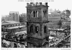 Así quedó la universidad de Oviedo después de los enfrentamientos entre el ejército y los obreros asturianos